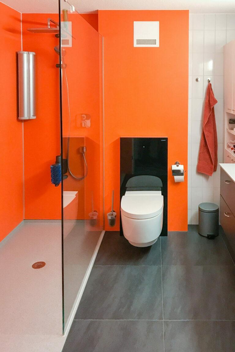 Badezimmer Ideen Teilbadsanierung fugenlose Wandgestaltung